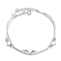 Israel TB0  Real 925 Sterling Silver Star Heart Bracelets & Bangles for Women Jewelry Two Layer Chain Link Bracelet