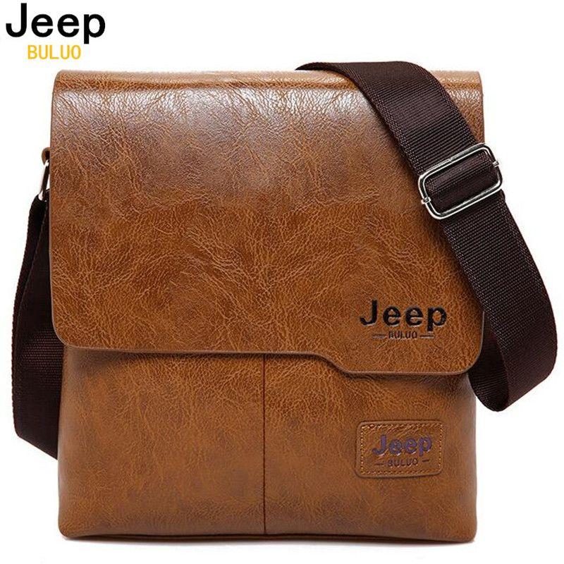 Men Tote Bags JEEP BULUO <font><b>Famous</b></font> Brand New Fashion Man Leather Messenger Bag Male Cross Body Shoulder Business Bags For Men 1505