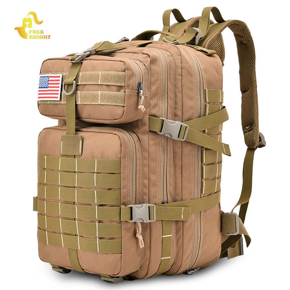 Free Knight 45L Military Tactical Backpack Assault Pack Army Bag Molle Trekking Travel Bag Water Resistant Camping Hiking Bag