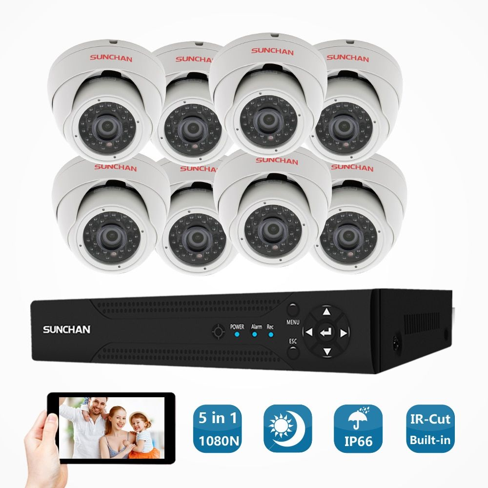 SUNCHAN 16 Channel 8*1.3MP AHD 1080N Video Security DVR Surveillance Camera Kit 960P Indoor IR Dome Cameras System