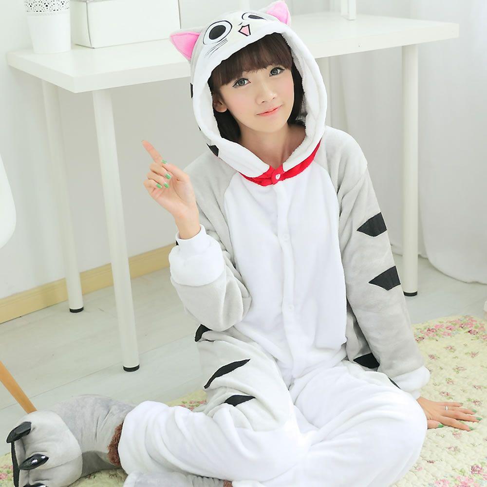 New Unisex Adult Flannel Pajamas Animal Pyjama Suits Cosplay Adult Winter Garment Cute Cartoon Animal Pajama Chi's cat