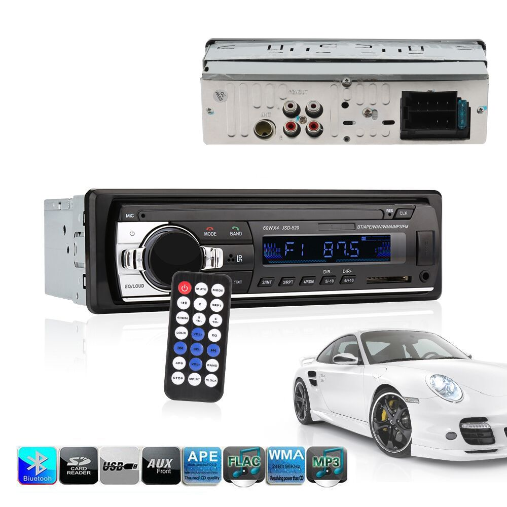 Car radio bluetooth jsd - 520 In-Dash 1 DIN 12V autoradio <font><b>tuner</b></font> Audio Stereo FM MP3 Players USB/SD MMC USB charger ISO 12 PIN