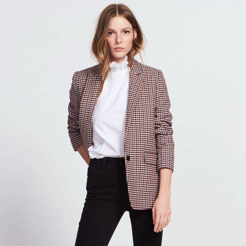 England Stylish 2017 Autumn Winter Vintage Houndstooth Women's Elegant Outwear Blazer Jacket Brand New Lady Slim Blazer Coats