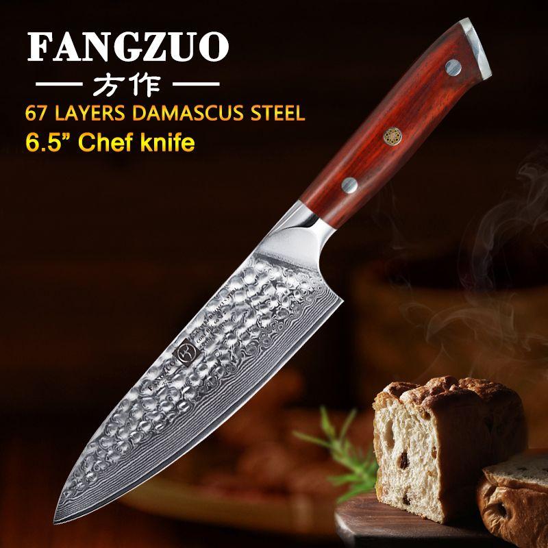 FANGZUO 6.5 pouces couteaux de cuisine japonais damas acier vg10 tranchage légume palissandre poignée haute qualité Chef couteau