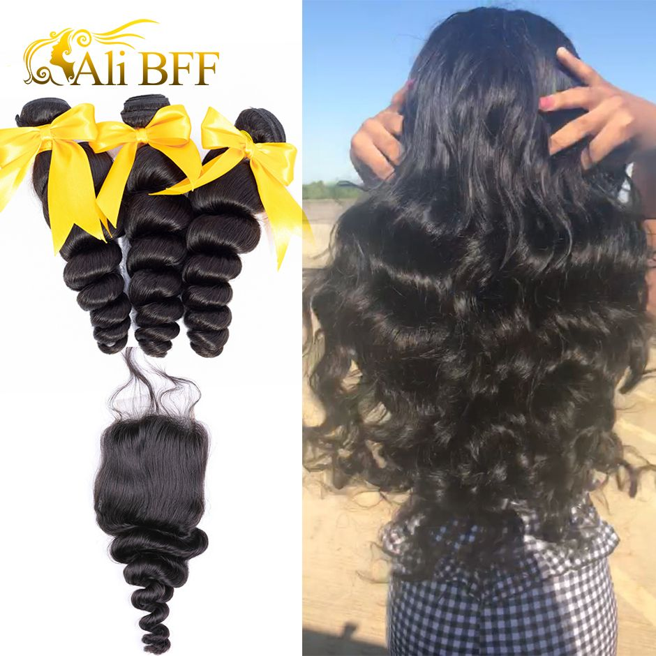 ALI BFF Hair Malaysian Loose Wave 3 Bundles With Closure 100% Human Hair Bundles Malaysian Hair With 4*4 Lace Closure Remy H
