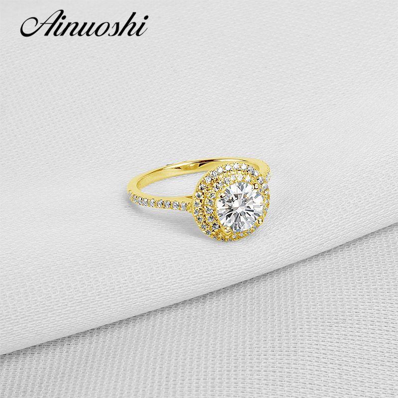 AINUOSHI 10K Solid Yellow Gold Wedding Rings Vintage Halo Engagement Bague 1 Carat Antique Simulated Diamond Fabulous Women Ring
