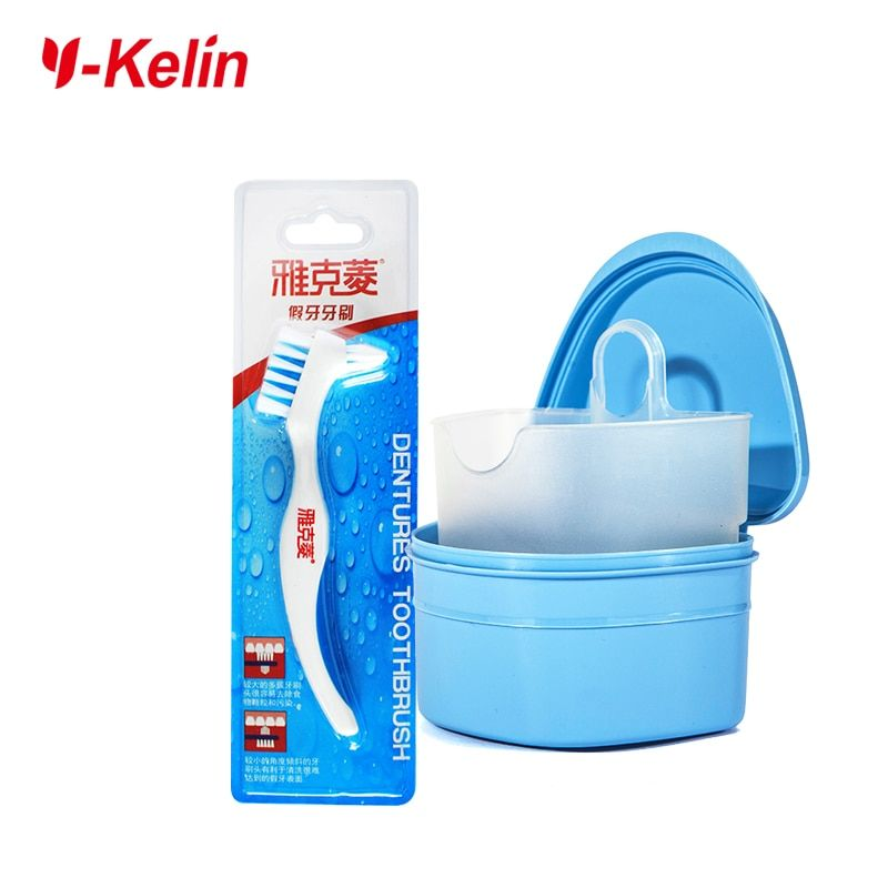 Y-Kelin Denture Box and Denture Brush set  high quality Denture and retainer cleanning set denture case and brush toothbrush
