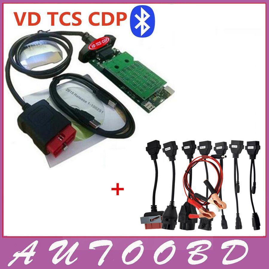 New vci (2015.3 R3 Keygen /2015R1 ) VD CDP PRO with bluetooth obd2 OBDII OBD II Auto Car scanner + Full set 8 car cables