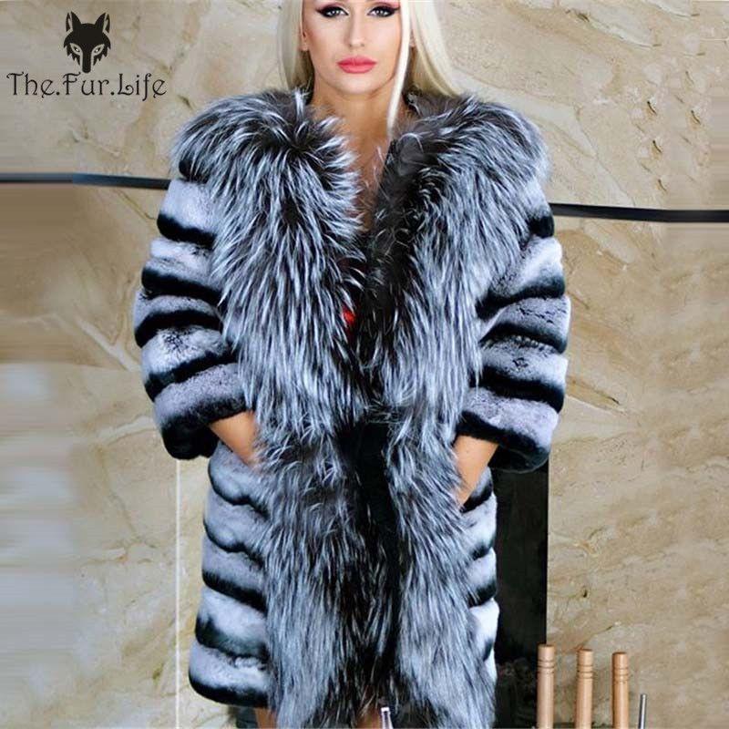 Neue Design Echt Chinchilla Rex Kaninchen Fell Mantel Mit Big Silber Fuchs Kragen Wam Winter Großhandel Für Frauen Natürliche Pelz jacken