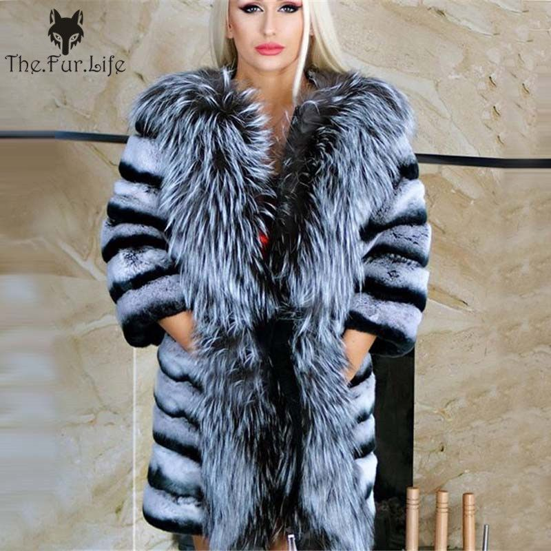 New Design Real Chinchilla Rex Rabbit Fur Coat With Big Silver Fox Collar Wam Winter Wholesale For Women Natural Fur Jackets