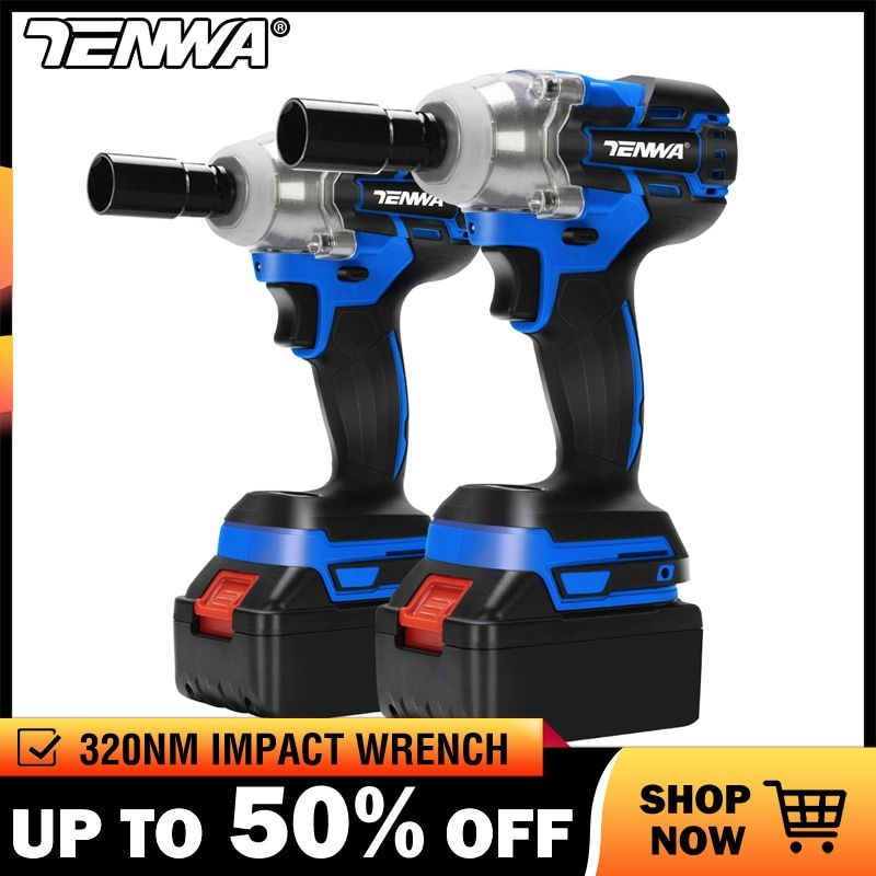 TENWA Brushless Cordless Electric Wrench Impact Socket Wrench 21V 4000mAh Li Battery Hand Drill Installation Power Tools