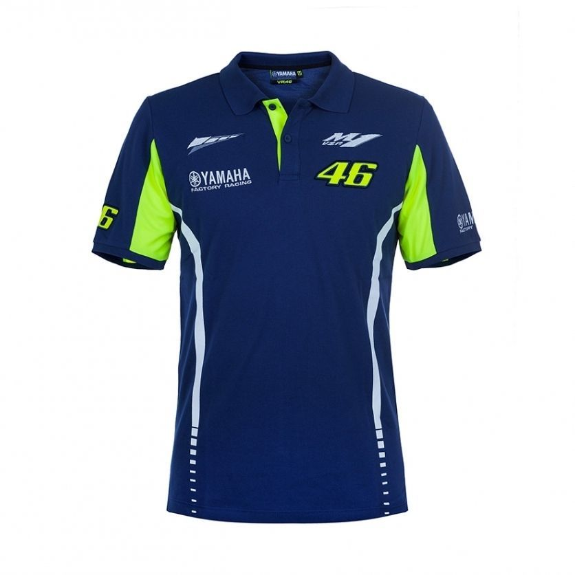 NEW 2017 Moto GP VR46 Valentino Rossi for Yamaha Team 46 Polo Shirt MENS The Doctor Blue T-shirt