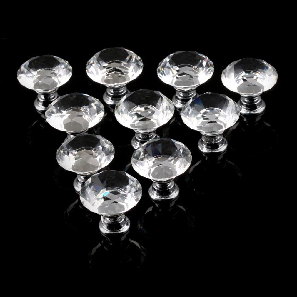 1 pack/10 Stücke 30mm Diamant-form-kristallglas Schubladenschrank Knob Zug-handgriff Küchentür Kleiderschrank Hardware