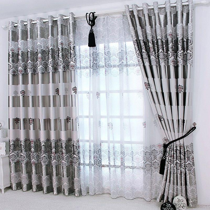 1 pc 2019 nouveau rideaux pour fenêtres rideaux européen moderne élégant Noble impression ombre rideau pour salon chambre