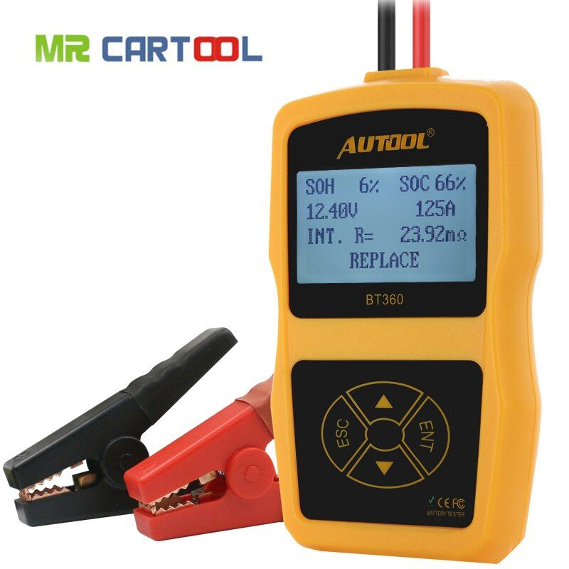 AUTOOL BT360 12V Digital Car Battery Tester for Flooded AGM GEL BT-360 12 Volt Automotive Battery Analyzer CCA Multi-language