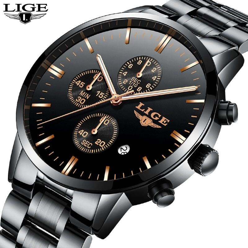 Relogio Masculino LIGE Fashion Mens Watches Top Brand Luxury Business Waterproof Quartz Clock Full Steel Military Sport Watch