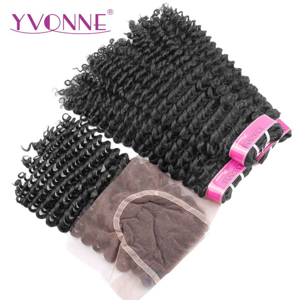 Yvonne продукты волос 100% бразильский пучки волос Девы с Синтетическое закрытие волос странный вьющиеся естественный Цвет 3 Связки с 4x4 синтети...