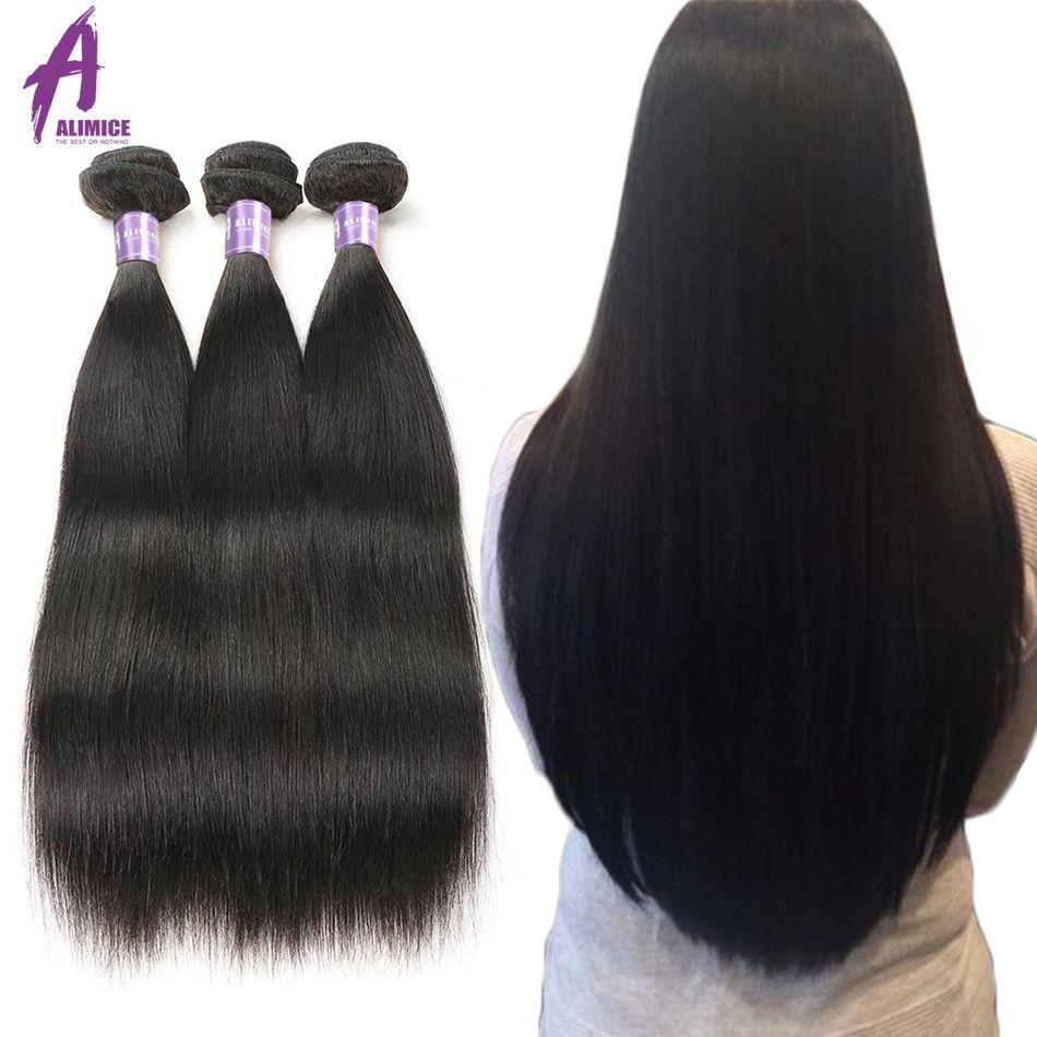 Alimice Indien faisceaux de cheveux raides tissage de cheveux humains Bundles 1/3/4 Pièces Indien Cheveux NonRemy extensions de cheveux Couleur Naturelle