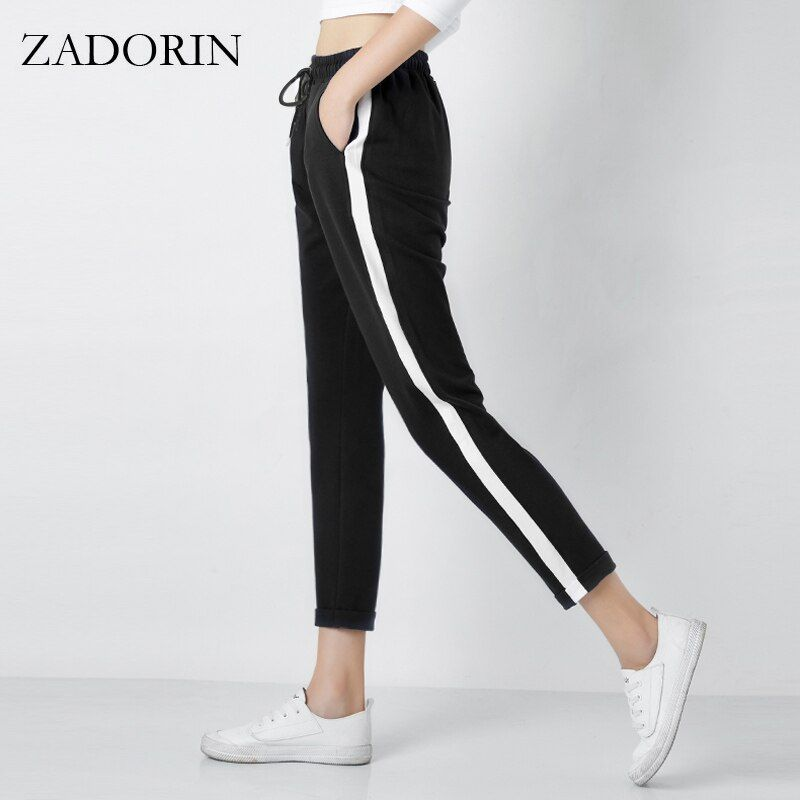 2018 Top Fashion Women <font><b>Leather</b></font> Striped Harem Pants Women Black Casual High Waist Pants Drawstring Loose Trousers Pantalon Femme