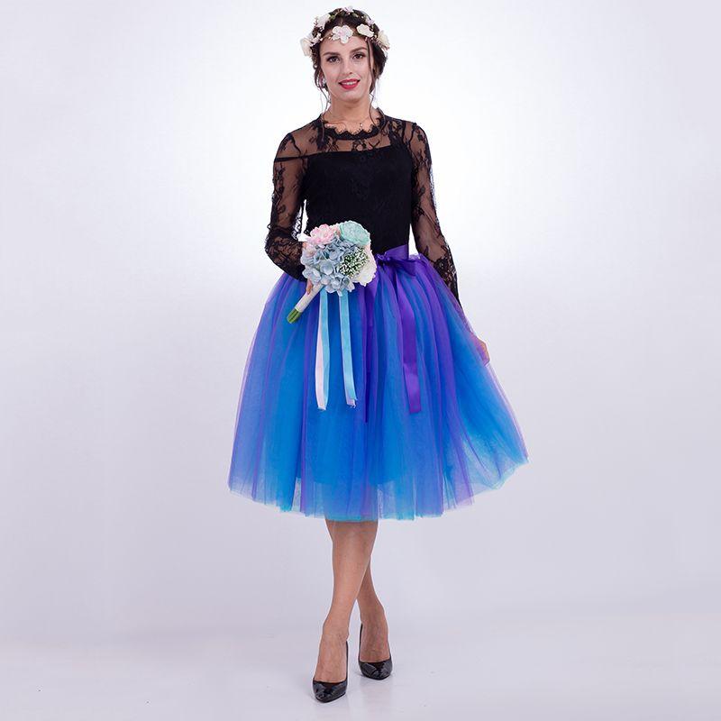 7 Layers Midi Tulle Skirts Womens Fashion Pleated TUTU Skirt <font><b>Elegant</b></font> Wedding Vintage Lolita Petticoat faldas mujer saias Jupe