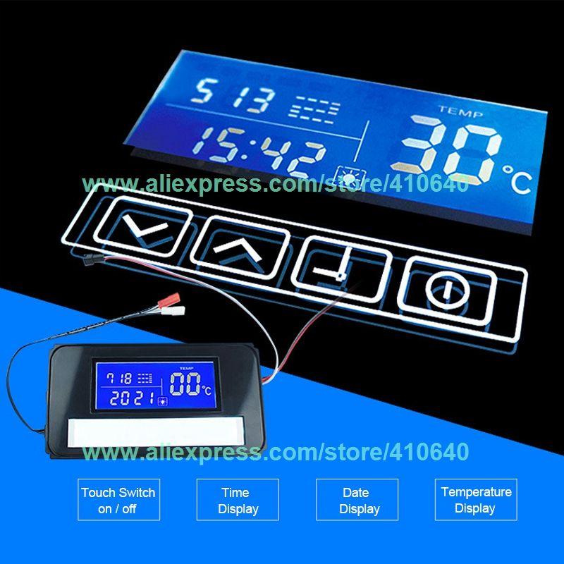 Temps et Affichage de La Température Système Sur Miroir Surface Lumière Miroir Interrupteur Tactile Commutateur