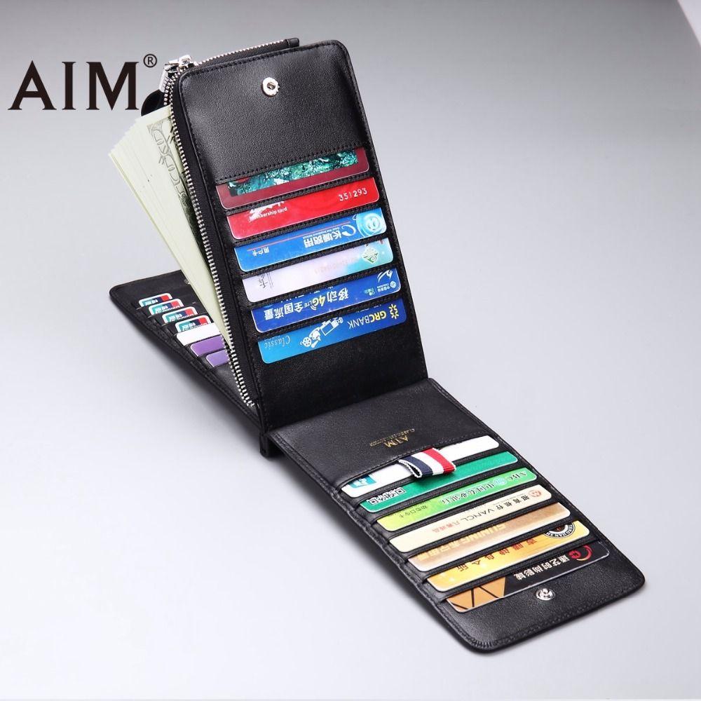 Цель Пояса из натуральной кожи Бизнес ID Card бумажника держатель кредитной карты для Для мужчин модные Для мужчин бумажник для кредитных карт...