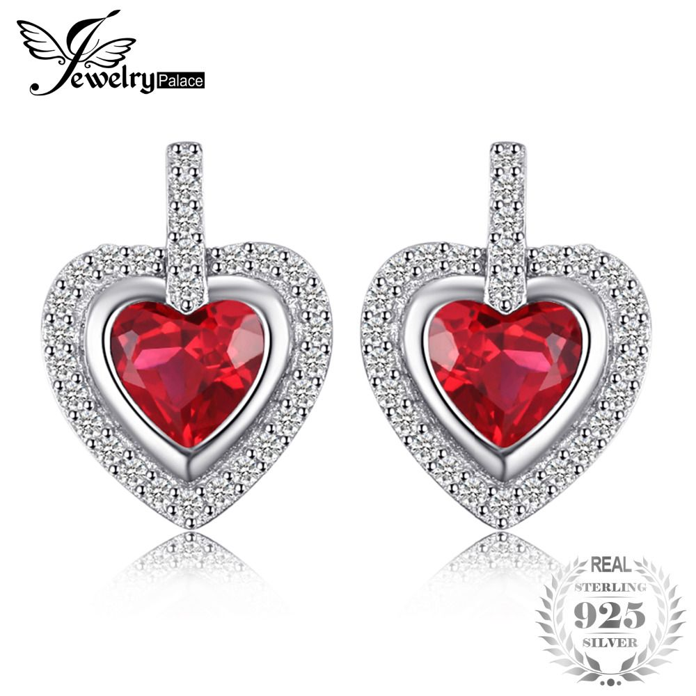 JewelryPalace Romantic 2.4ct Created Ruby Love Heart Stud Earrings For Women Gift 925 Sterling Silver Romantic Fine Jewelry