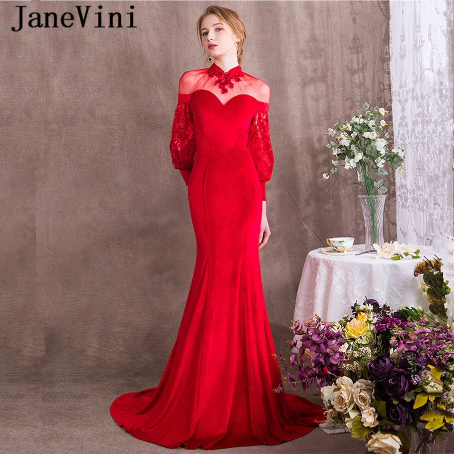 JaneVini Vintage Velvet Sequins Mother of The Bride Dresses Mermaid High Neck Long Sleeve Sheer Back Plus Size Red Evening Gowns