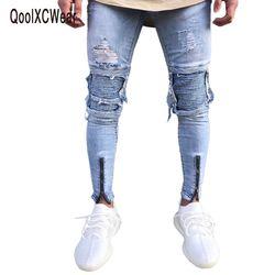 QoolXCWear Marque Designer Slim Fit Ripped Jeans Hommes Salut-Rue Hommes Distressed Denim Joggeurs Genou Trous Lavé Détruits Jeans