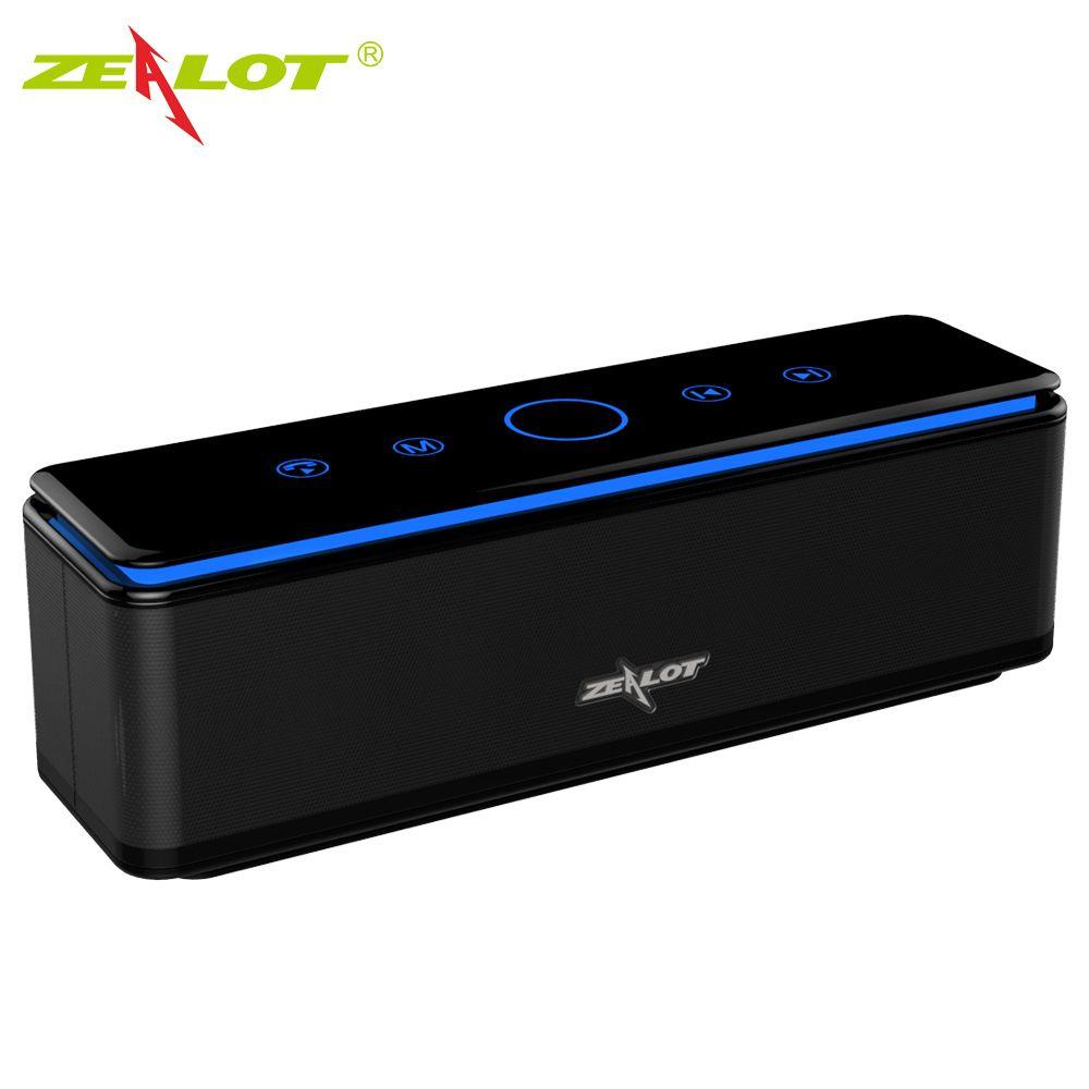 ZEALOT S7 Haut-Parleur Tactile Contrôle Bluetooth Sans Fil Haut-parleurs 4 Pilotes avec LED Bar Aux Audio/TF Carte Basse Stéréo Studio Effet