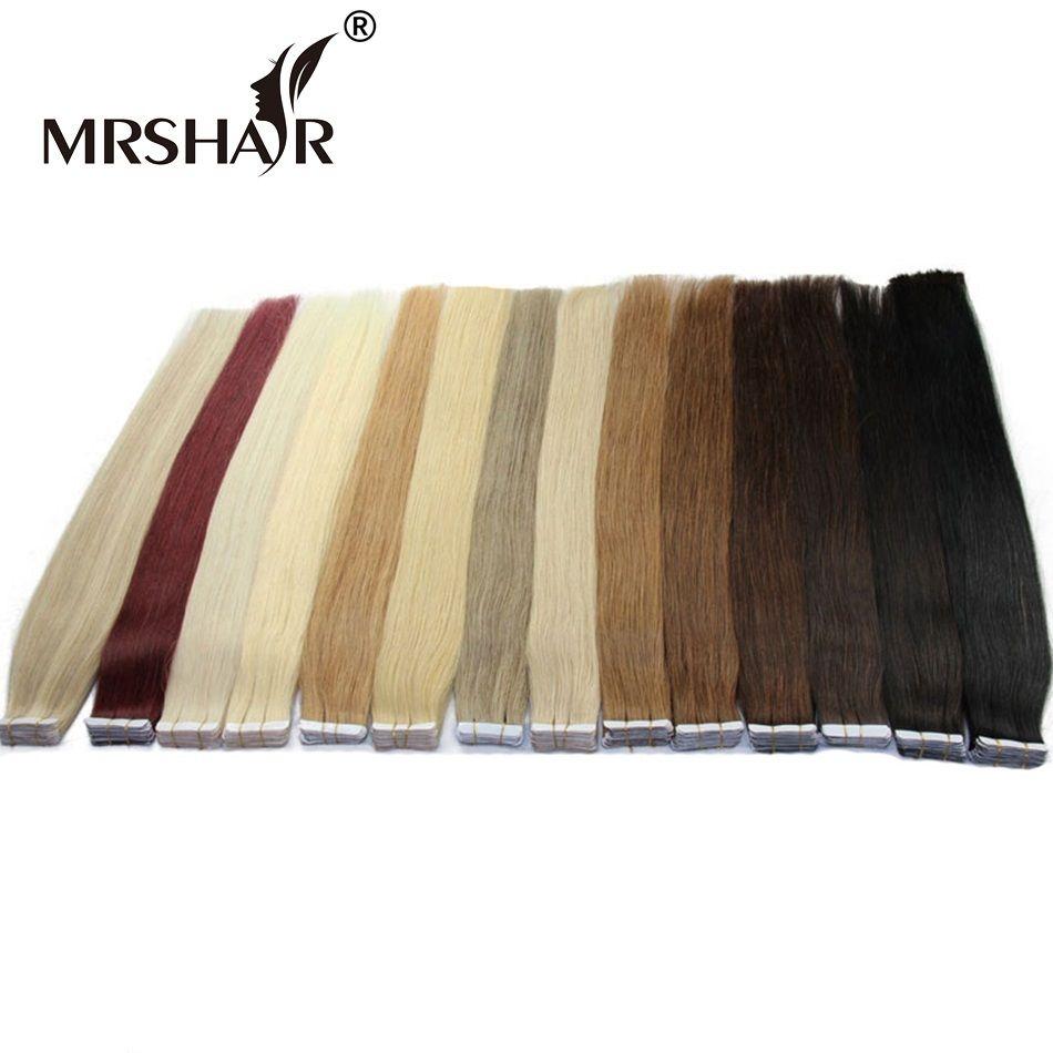 Mrshair Клейкие ленты в Пряди человеческих волос для наращивания 16