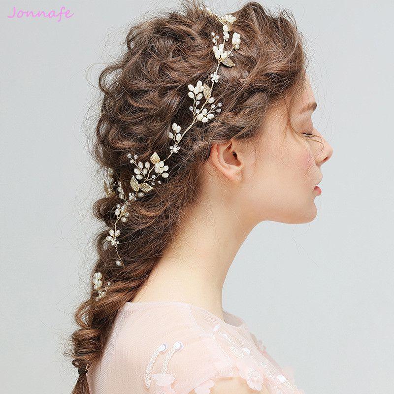 Jonnafe 2017 or feuille perles cheveux vigne mariée bandeau mode mariage cheveux bijoux accessoires accessoire cheveux pour femme diadème