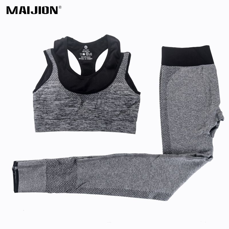 MAIJION 2Pcs Women Yoga Sets Fitness Sport Bra+Yoga Pants Leggings Set , Gym <font><b>Running</b></font> Sport Suit Set Workout Clothes for Female