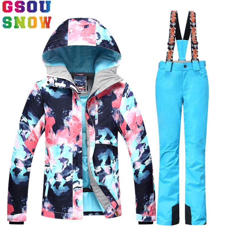 GSOU SNOW Ski Suit Women Skiing Jacket Snowboard Pants Winter Waterproof Outdoor Cheap Ski Suit Ladies Sport Clothing 2017 Coat
