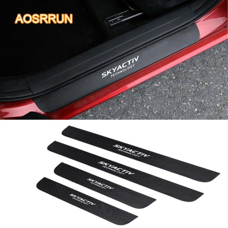 PU leather Carbon fiber Car-styling Door Sill Scuff Plate Car Accessories For Mazda CX5 CX-5 2017 2018