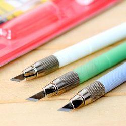 Acier hobby couteau avec 12 pcs lame de rechange Gravure Stylo couteau Sculpture artisanat outils scrapbooking papeterie fournitures scolaires 5015