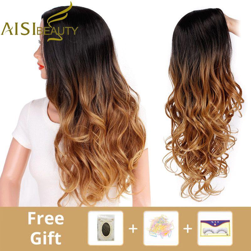 AISI beauté longue Ombre brun ondulé perruque Blonde Cosplay perruques synthétiques pour femmes sans colle cheveux haute densité température noir gris