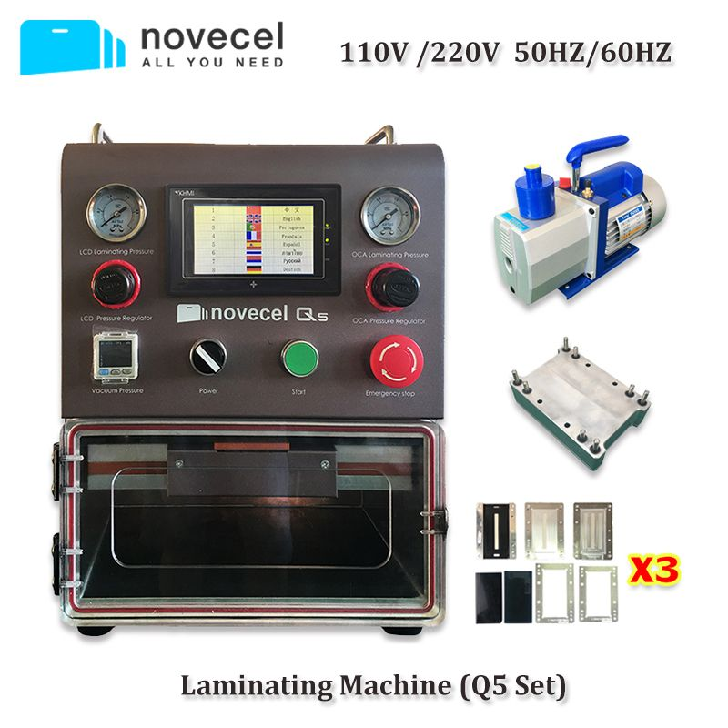 Novecel Q5 Laminieren Maschine Tragbare OCA Vakuum Laminator mit 4L Vakuum Pumpe Für Flache Bildschirm, Gebogene Bildschirm, Tabletten