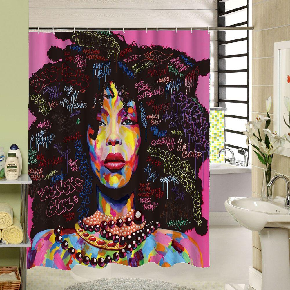 Высокое качество различных пользовательских Водонепроницаемый Ванная комната Африканская женщина душ Шторы полиэстер Ткань Ванная комна...