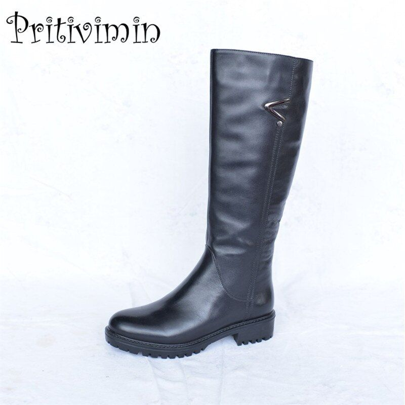 2018 Ladies cow leather bottes femmes winter women warm real fur lined handmade shoe girl thick heel riding boots PritiviminFN33