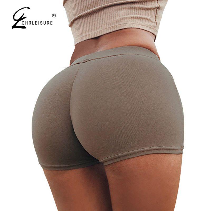 CHRLEISURE Candy Colors Shorts Women Sexy Push Up Cotton Short Feminino Workout Sportwear Shorts Feminino S-L 11 Colors