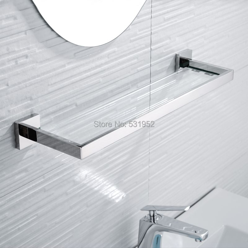 SUS 304 Stainless Steel Bathroom Glass Shelf Wall Mount Glass Towel Rack Polished Storage Towel Hanger Rack