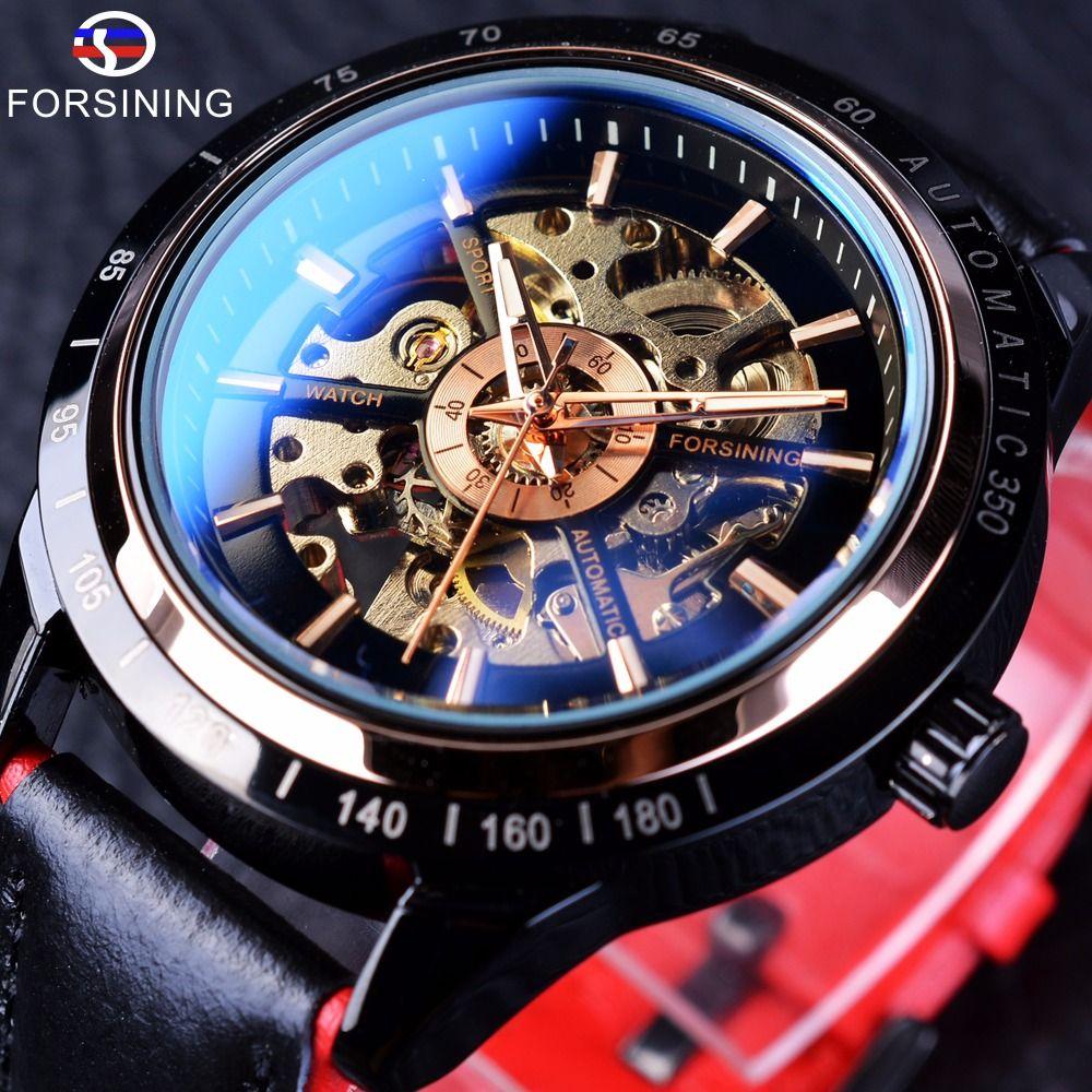 Forsining moto Design Transparent véritable rouge noir ceinture étanche squelette hommes montres automatiques Top marque horloge de luxe