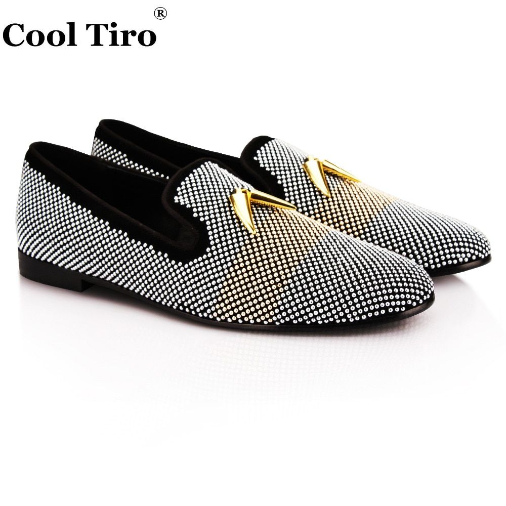COOL TIRO new Black cattle suede silver bubble hot drilling Shark Tooth Handmade wedding and party Loafers Men Flats shoes