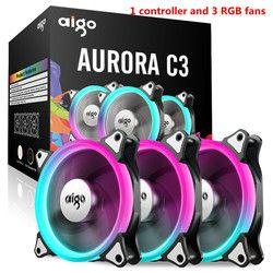 Aigo C3 C5 ventilador PC caja de la computadora refrigerador ventilador de refrigeración 120mm ventiladores silencio RGB ventiladores de caja