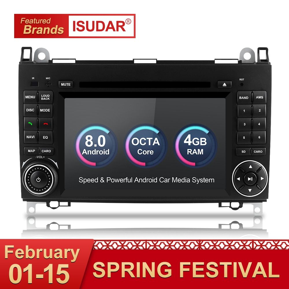 Isudar Auto Multimedia-Player 2 din Auto Radio GPS Android 8.0 Für Mercedes/Benz/Viano/B200/B150 /B170/B-klasse OBD2 Mikrofon DSP
