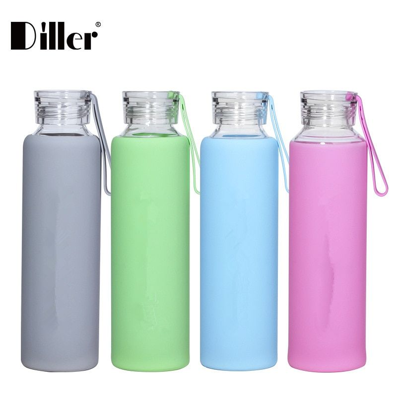 Diller New 550ML Water Bottle Summer Style Portable Glass With <font><b>Silicone</b></font> Cover Fashion Drinking Bottle Bicycle Sport Eco-friendly