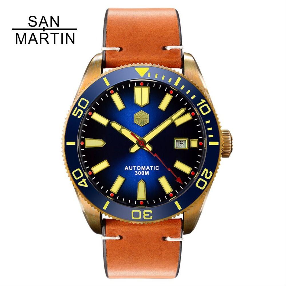 San Martin Männer Automatische Uhr Vintage Bronze tauchen Uhr 300 Wasserdicht Keramik Lünette Retro Armbanduhr Uhren Hombre2018