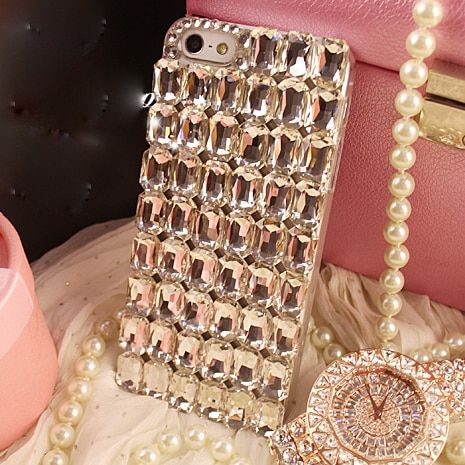 Bling Shiny Girl Lady Handmade Crystal Diamond Phone Case for iPhone X 8 8Plus 5s 6s Plus 7 Plus 4 4S Rhinestone Cover Case
