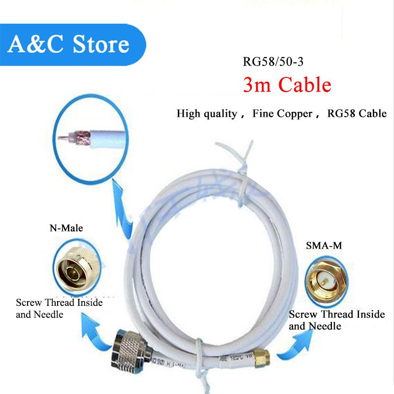 antenna cable SMA Male to N-Male connector with 3m cable low loss high quality cable length can be customized